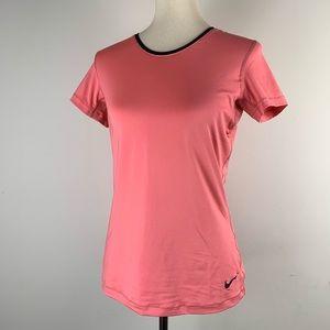 Nike Pro Workout Tee Peachy Pink Black Mesh Back M
